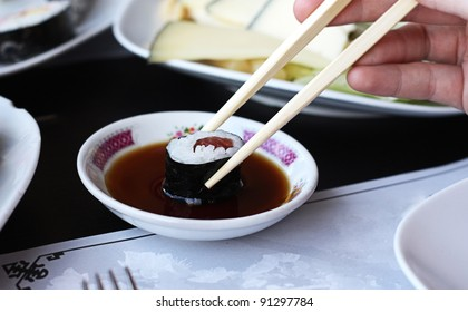 The sushi with sause.