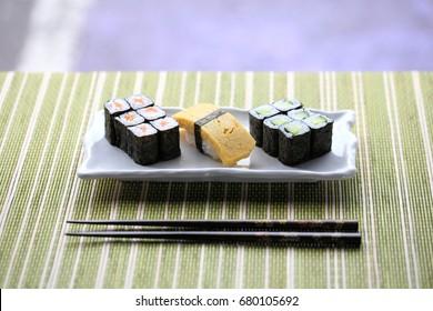 sushi selection with tamagoyaki and hosomaki