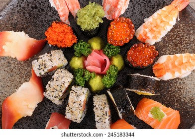 Sushi set : Assorted sushi platter selection. Top view.