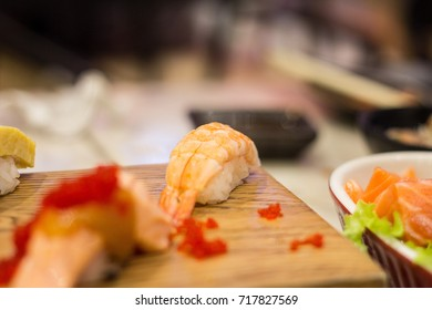 Sushi set closed up , Japanese food, egg, salmon, fish and other ,selective focus ,softy and burred background