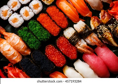 Sushi Set gunkan, nigiri and rolls close up
