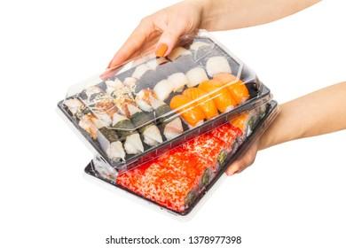 Sushi set hold hands, isolated white background