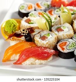 Sushi Set - Maki Sushi (alaskan roll, yin yang roll) and Nigiri Sushi (tuna, salmon, eel).