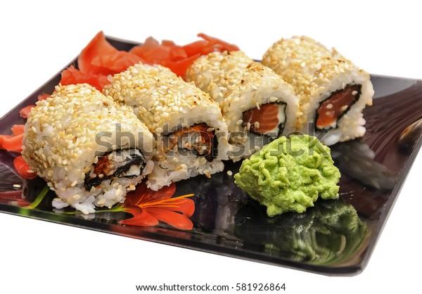 Sushi set on black background
