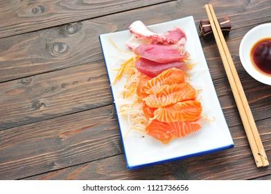Sushi set on dish.