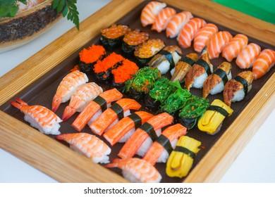 Sushi set on tray ready for eat , Japanese food