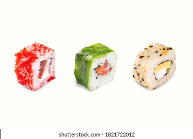 sushi set on a white background. different sushi stuffed with fish, rice, cheese, and avocado.