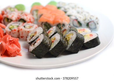Sushi set on a white background