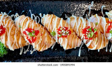 Sushi set Salmon burned Terri nigiri