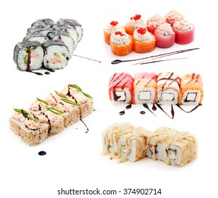 Sushi sets with diferent type of fish (salmon, tuna, eel) isolated on white background