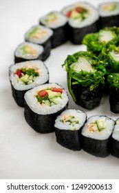 sushi sets on the white background top view