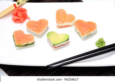 sushi in the shape of a heart