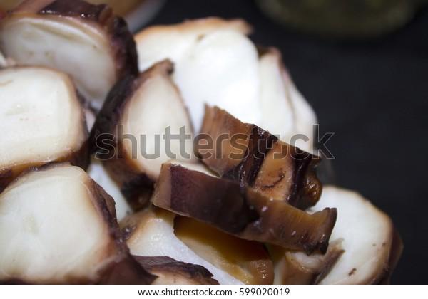 sushi slice squid seafood
