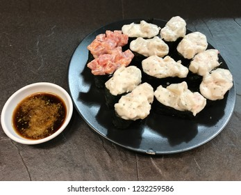 Sushi with soy sauce, Japanese food background