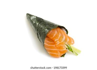 Sushi temaki isolated on white background
