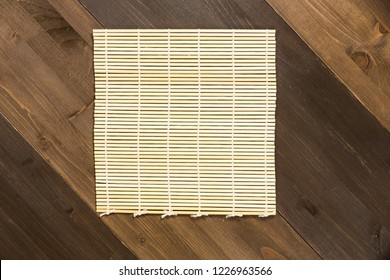 Sushi tray on a wooden background