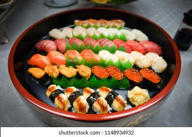 Sushi tray in restaurant