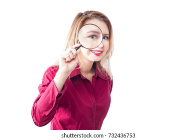 suspecting smiling Girl with magnifying glass or magnifier isolated on white background -2