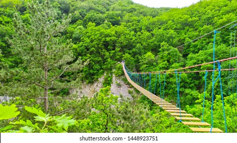 Suspencion Bridge for rope jumping over abyss in canyon