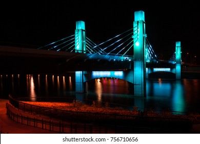 Suspended Bridge over Brazos River illuminated by LED in Waco, Texas / Light painted bridge