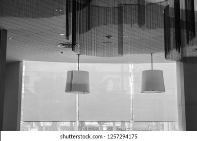 Suspended ceiling lamp with blind, roller, curtain, roll, shades, shutters.