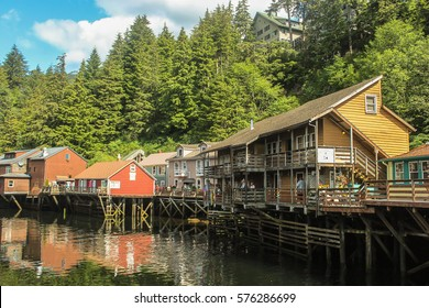 Suspended houses on a small Alaskan river in Skagway ,Alaska