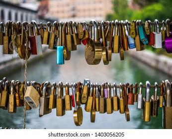 Suspended love lockers in Butcher's bridge in Ljubljana