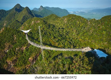 Suspended pedestrian bridge in the mountains of Langkawi island, Malaysia