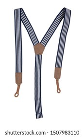 Suspenders isolated. Close-up of blue white striped trendy suspenders for jeans of little boy. Fashionable accessories for pants or trousers.