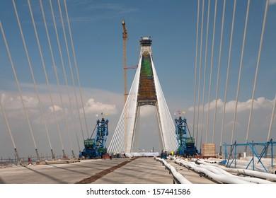 A suspension bridge.