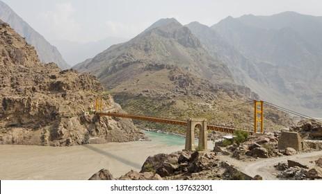 Suspension bridge across the Indus River along the Karakorum Highway in Pakistan.