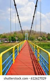 Suspension bridge across the river