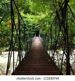 Suspension bridge across a stream in the jungle  at east, Thailand