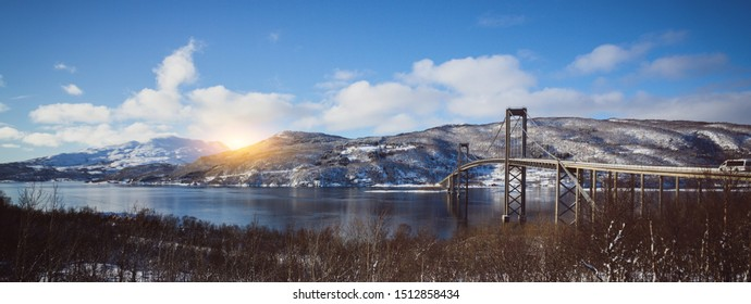 suspension bridge against a beautiful Norwegian landscape at the Lofoten Islands, Norway