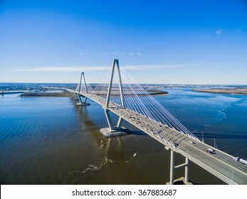 Suspension Bridge Charleston Aerial - The Ravenel Bridge