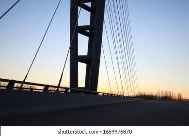 Suspension bridge in the evening