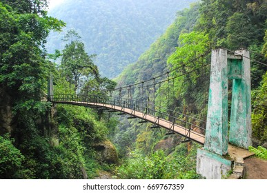 Suspension bridge in the forest. Goche-la pass trek, Sikkim himalaya. Kanchenjunga area. India.