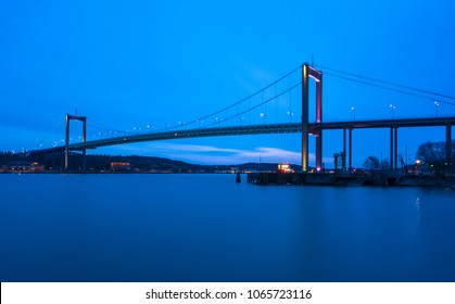 Suspension bridge at Gothenburg Connecting main land to Industrial area of Hisingen in west coast of Sweden. During blue hour the bridge gets an added makeover  with artificial lights