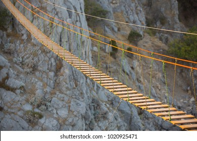 Suspension bridge high in the mountains