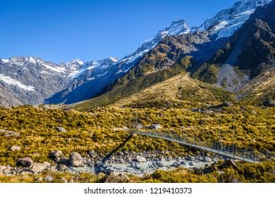 suspension bridge in Hooker Valley, Aoraki Mount Cook, New Zealand