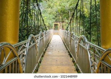 Suspension Bridge in Lumbini Natural Park, Berastagi, Indonesia