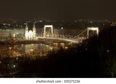 suspension bridge at night