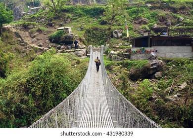 Suspension bridge on Annapurna Circuit track