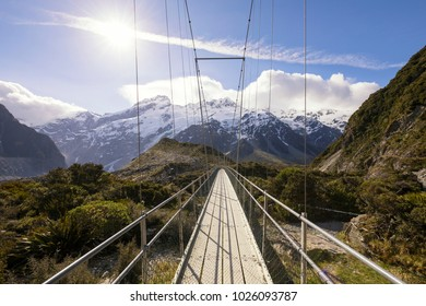 Suspension bridge on Hooker Valley track in Mt Cook National Park, New Zealand