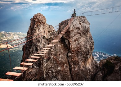 Suspension bridge on the Mount Ai-Petri in Crimea, Russia.