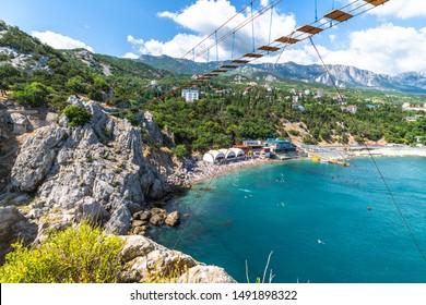 Suspension bridge on top of the mountain at Diva rock in Simeiz, Crimea