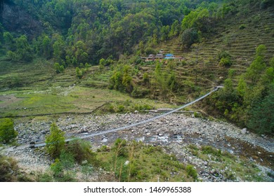 Suspension bridge on the way to Annapurna base camp ,Nepal