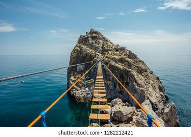 Suspension bridge over Black sea in Simeiz, Crimea.