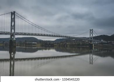 Suspension Bridge over the Ohio River on a gray, winters day