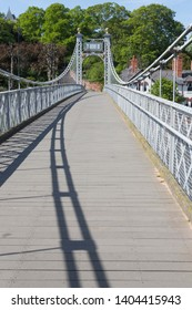 The suspension bridge over the River Dee at Chester, England.